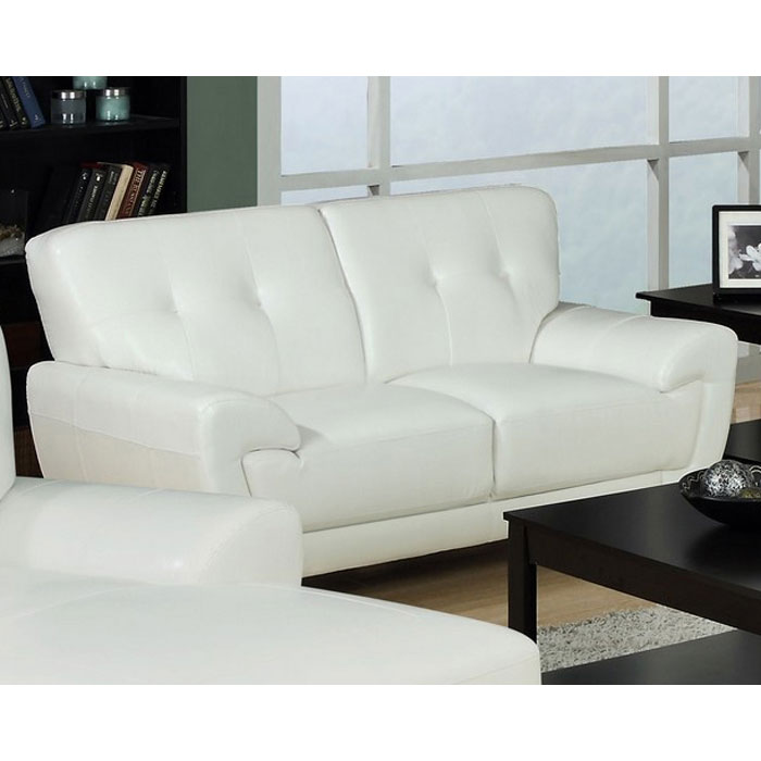 Eugene Leather Loveseat Flared Arms White Dcg Stores