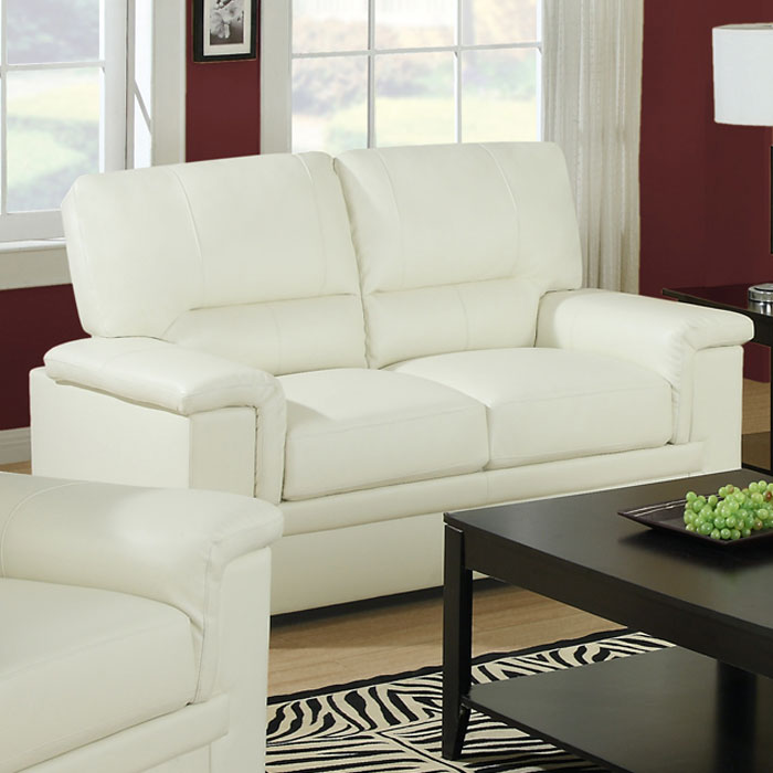 Artaud Leather Loveseat - Pillow Top Arms, Ivory - MNRH-I-8812IV