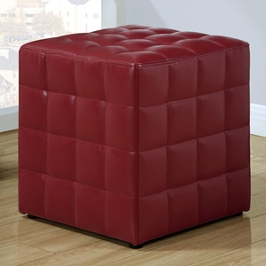 Rammstein Cube Ottoman - Square Tufts, Red