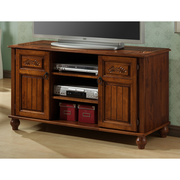 Patience Traditional TV Console Dark Oak Carved Accents