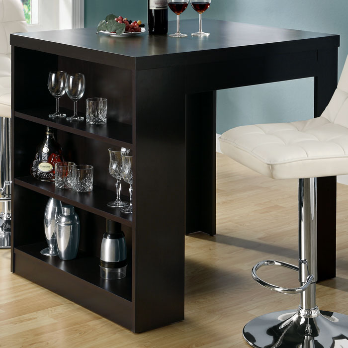 Kitchen Bar Table With Storage: Prudence Pub Table - Storage Shelves, Cappuccino Finish