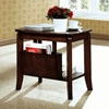 Chloe Wood Side Table - Walnut Finish, Magazine Holder - MNRH-I-1579