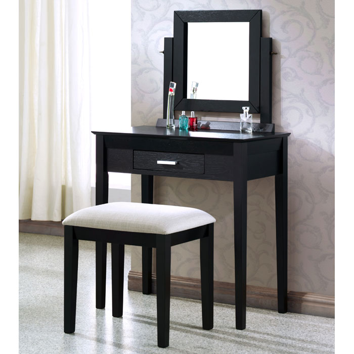 Dreams Vanity Table and Stool Set - Black Finish, Gray Seat - MNRH-I-1923