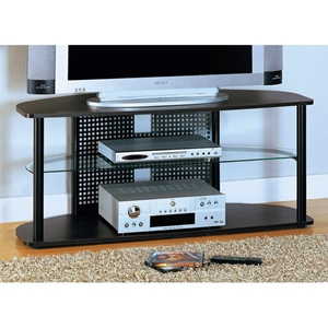 Valor TV Stand - Black Metal, Cappuccino Wood, Tempered Glass