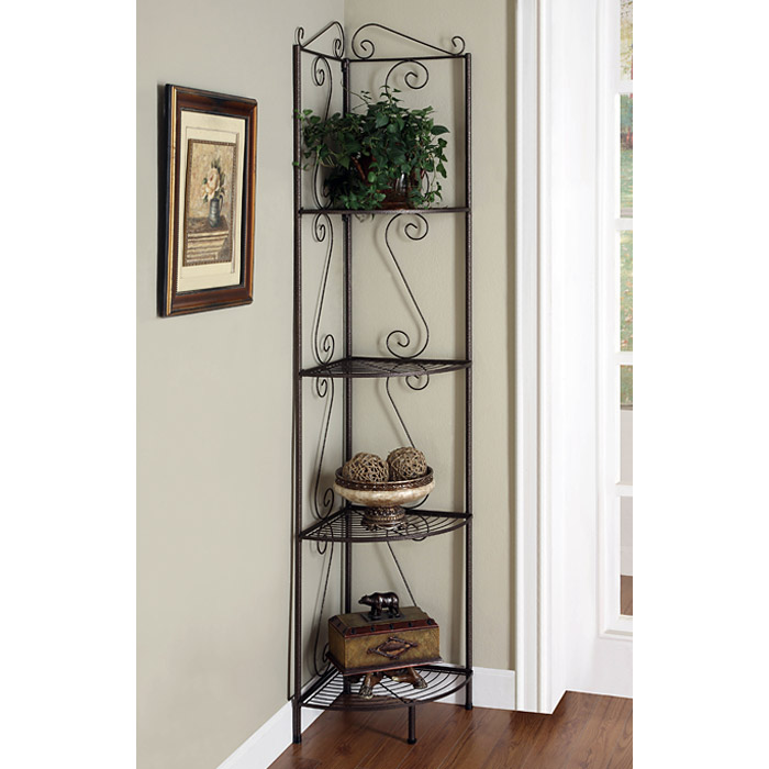 Victory corner display rack plant stand golden copper metal dcg stores - Corner shelf for plants ...