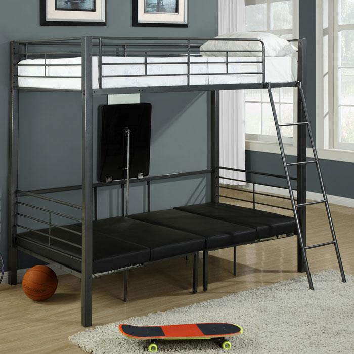 Adventure Kids Twin Bunk Bed With Convertible Sit U0026 Sleep Area