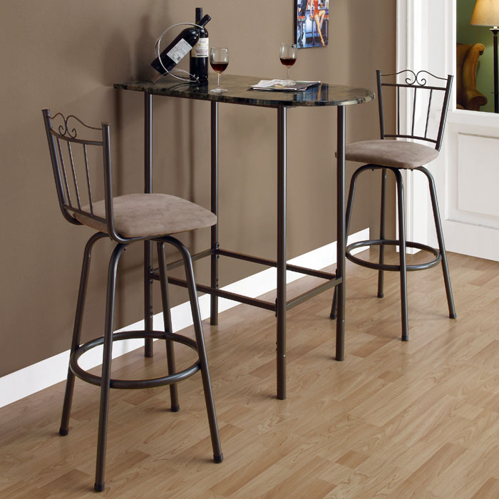 Bliss Half Racetrack Top Pub Table - Coffee Finish, Metal Base - MNRH-I-2315