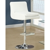 Debonair Adjustable Swivel Bar Stool - Chrome, White (Set of 2) - MNRH-I-2317