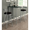Retrospective Swivel Bar Stool - Silver Metal, Black Seat (Set of 2) - MNRH-I-2332
