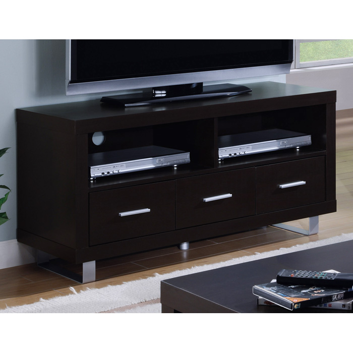Chatoyant Contemporary TV Stand - 3 Drawers, Cappuccino - MNRH-I-2503