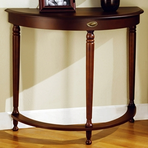 Euphony Half Moon Hall Table - Walnut, Gold Finished Accent