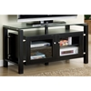 Cobain Black TV Stand - Glass Top, Brushed Steel Accents - MNRH-I-3560
