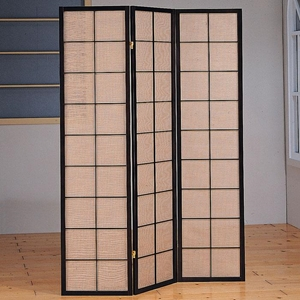 Margaery Folding Screen - Cappuccino Wood, Windowpane Pattern