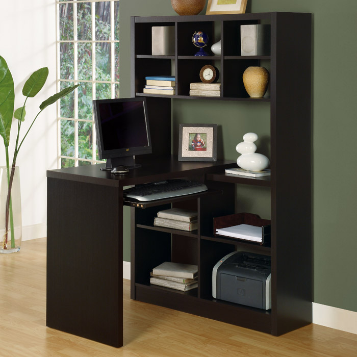 Friedrich Desk with Tall Bookcase - Cappuccino - MNRH-I-7021