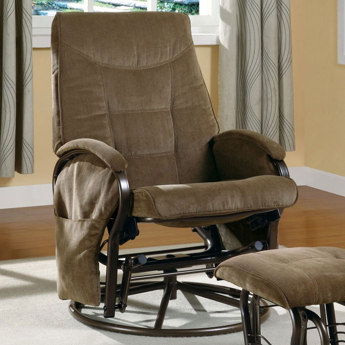 Huygens Swivel Rocking Chair with Ottoman - Brown Chenille - MNRH-I-7253