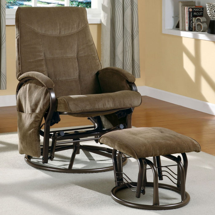 Huygens Swivel Rocking Chair With Ottoman Brown Chenille Dcg Stores