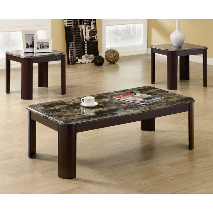 Strauss Coffee Table And End Tables Set Glossy Chocolate Brown Dcg Stores
