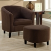 Laplace Armchair and Ottoman Set - Chocolate Brown Microfiber - MNRH-I-8056