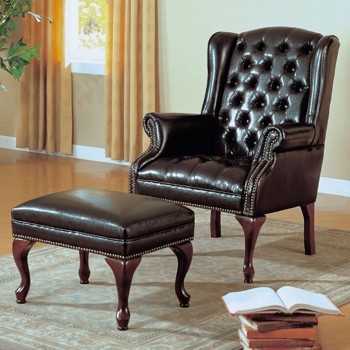 Bellucci Wingback Chair And Ottoman Set Cabriole Legs