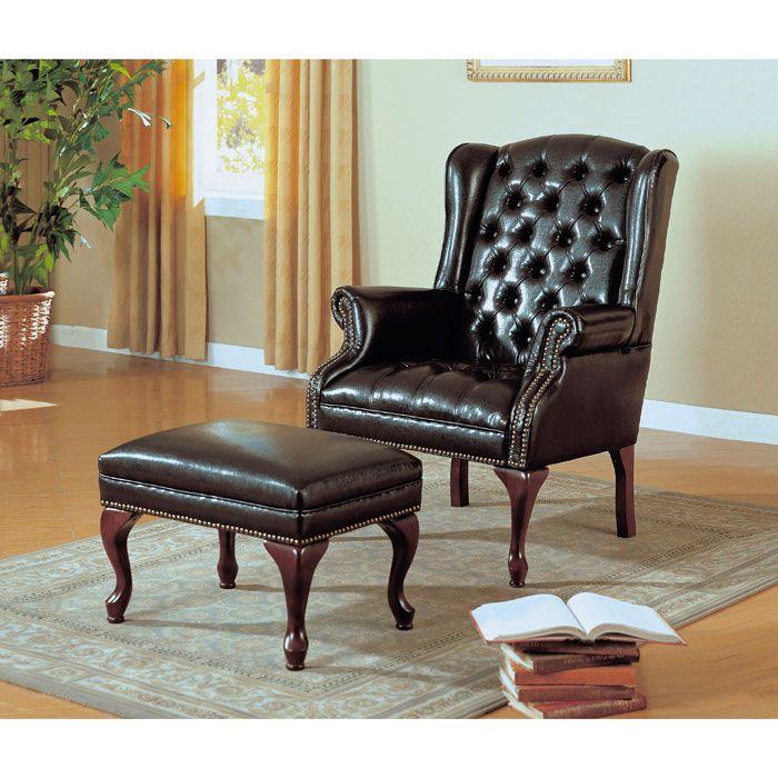 Bellucci Wingback Chair And Ottoman Set Cabriole Legs