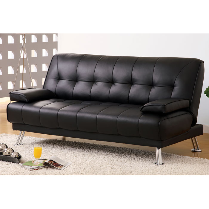 Amani Convertible Sofa Removable Armrests Black Dcg