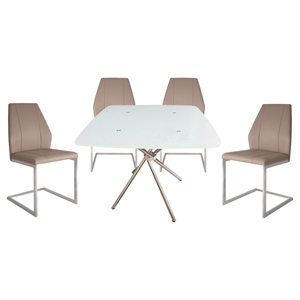 5 Pieces Cafe-308 Square Dining Set - Taupe, Chrome