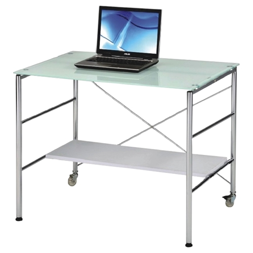 desk 03 writing desk adjustable shelf white glass top. Black Bedroom Furniture Sets. Home Design Ideas