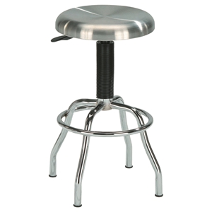 Adjustable Work Stool - Backless, Swivel, Stainless Steel