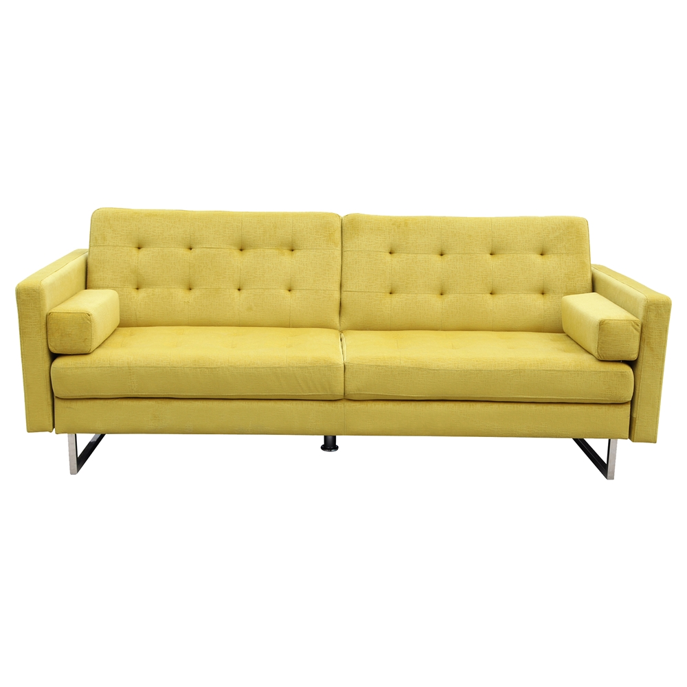 Verona sofa bed yellow tufted dcg stores for Sofa bed yellow