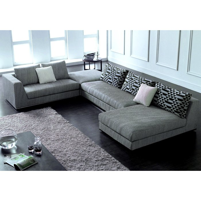 Annabella chaise sectional sofa set gray silver modular for Ditto grey sectional sofa