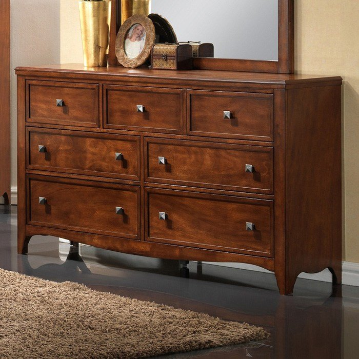 Auckland 7 Drawer Dresser Hardwood Antique Oak Finish Dcg Stores