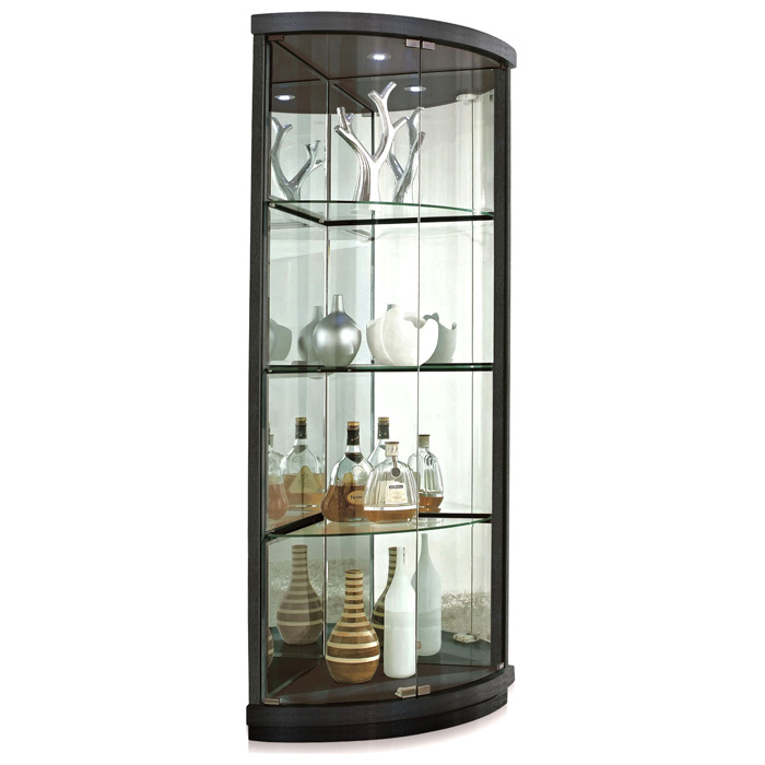 Mortimer Lighted Corner Display Curio Hardwood Glass