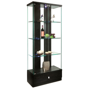 Mikhail Lighted Display Curio - Hardwood, Glass, Drawer