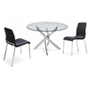 Cafe 5 Piece Dining Set - Round Glass, Black Chairs - NSI-431006SB