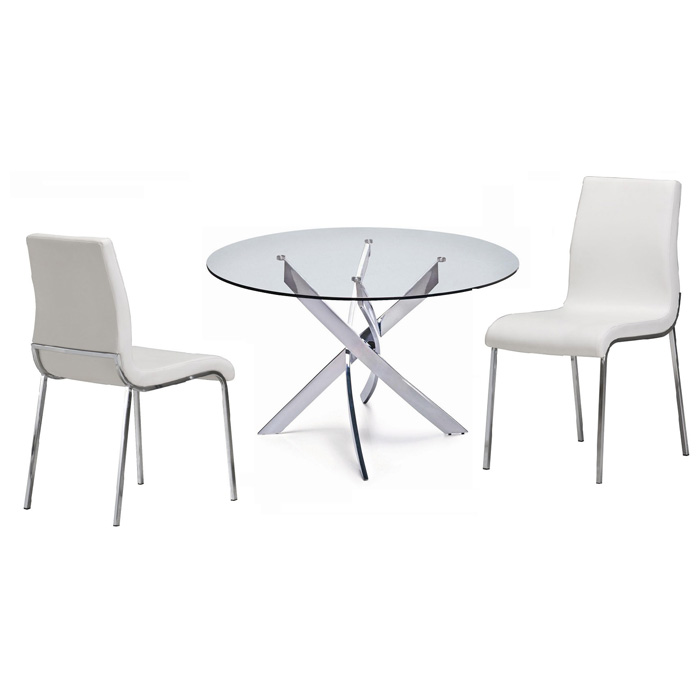 Cafe 5 Piece Dining Set - Round Glass, White Chairs - NSI-431006SW