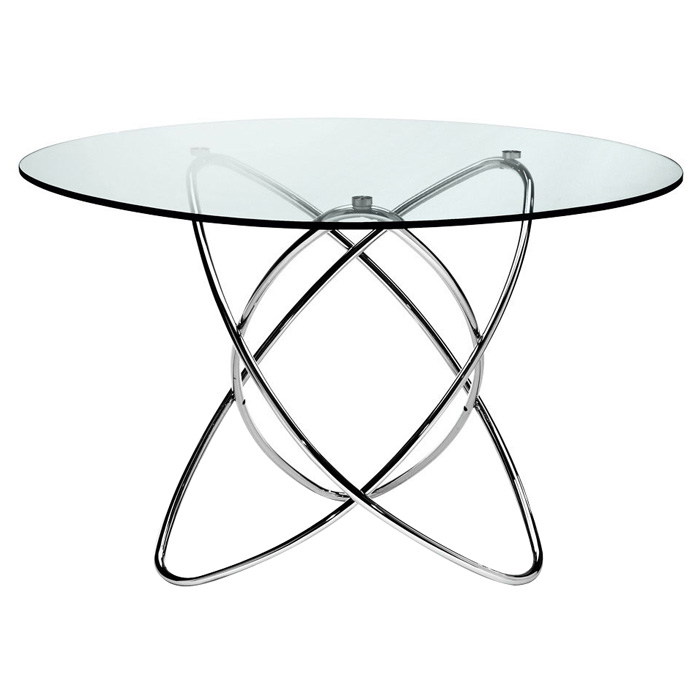 Cafe 5 Piece Dining Set - Round Glass, Chrome Rings Base, Black - NSI-431007SB