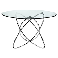 Cafe Round Dining Table - Glass, Intersecting Chrome Rings