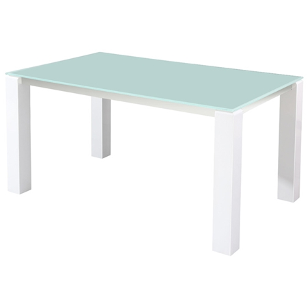 Cafe rectangular dining table frosted glass stainless for Frosted glass dining table