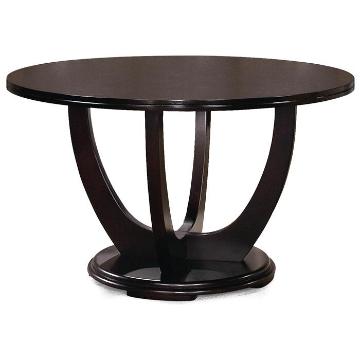 Cafe round dining table hardwood dark brown dcg stores for Dark hardwood dining table
