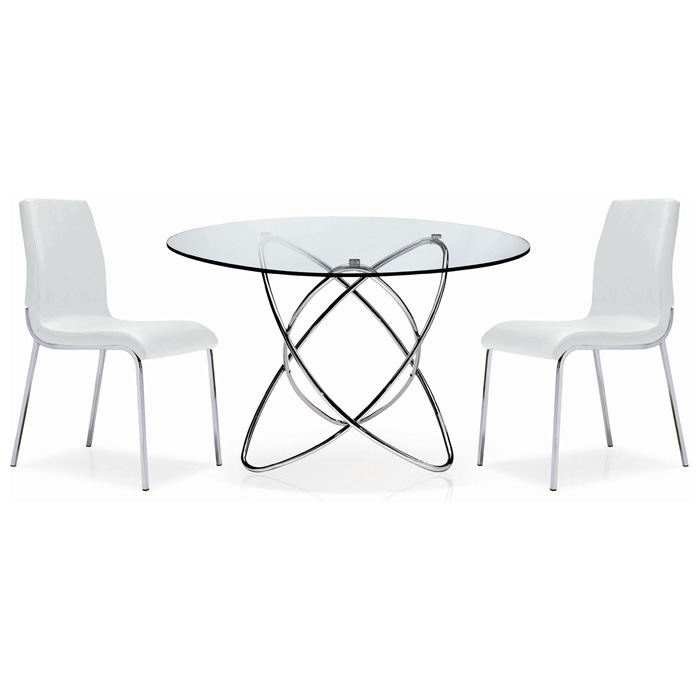 Cafe Round Dining Table - Glass, Intersecting Chrome Rings - NSI-431007