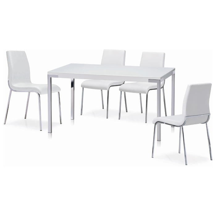 Cafe Rectangular Dining Table - Chrome Legs, White Glass Top - NSI-431009