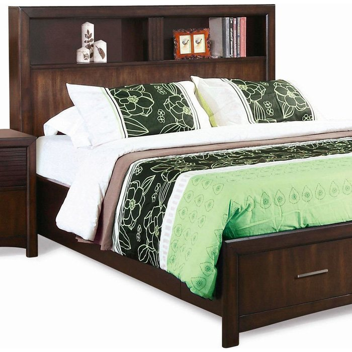 Edison king storage bed bookcase headboard java oak - Bookcase headboard king bedroom set ...