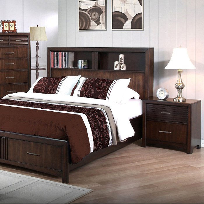 Edison 5 Piece Bedroom Set   Storage Bed, Java Oak, King   NSI  ...