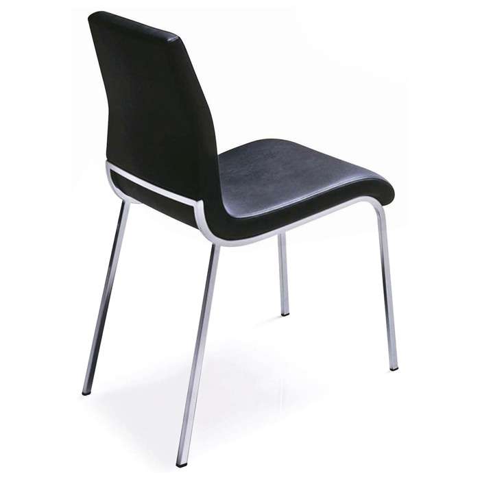 Byford Modern Dining Chair - Chrome Legs, Black | DCG Stores
