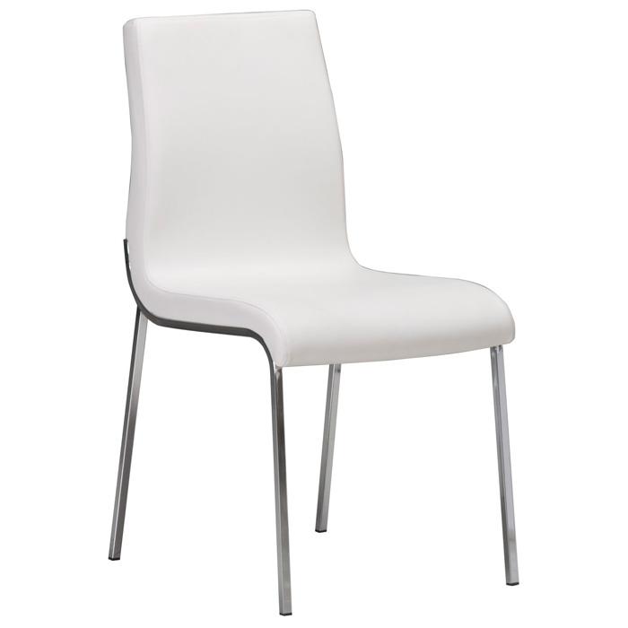 Byford Modern Dining Chair - Chrome Legs, White
