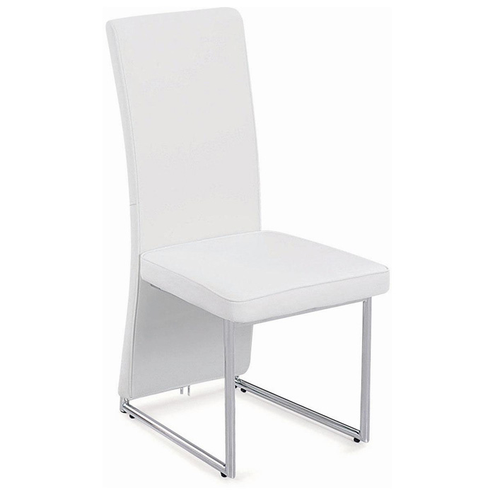 Blaine modern dining chair chrome long back white for Long back dining chairs