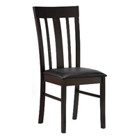Gretel Slat Back Side Chair - Cappuccino Frame, Black Seat