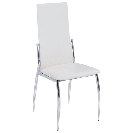 Barlow modern dining chair chrome tall back white for White chrome dining chairs