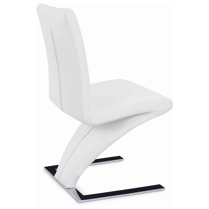 Shaped Chairs: Brent Z-Shaped Dining Chair - Chrome Base, White