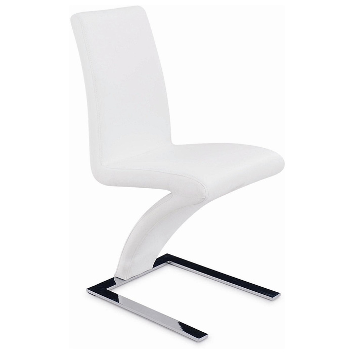 Brent Z-Shaped Dining Chair - Chrome Base, White